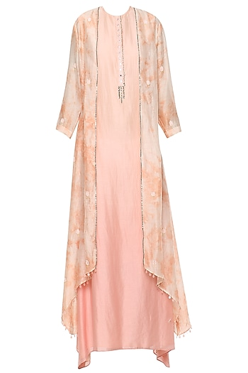 Pink Ombre Maxi Dress with Embroidered Jacket by Shilpi Gupta Surkhab