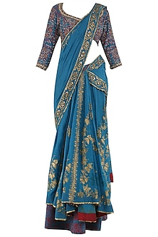 Teal Foil Printed Pre-Stitched Saree with Blouse by Shilpi Gupta Surkhab