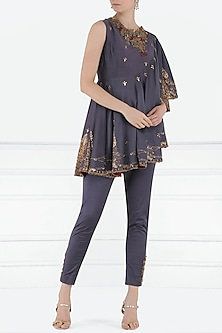 Midnight Blue Printed Flared Top with Pants by Shilpi Gupta Surkhab