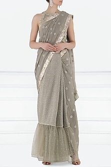 Pewter Embroidered Saree with Blouse by Shilpi Gupta Surkhab