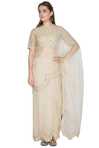 Beige Resham Embroidered Saree Set by Shasha Gaba