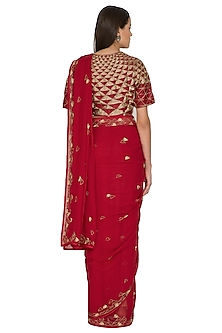 Watermelon Red Triangular Motifs Embroidered Saree Set by Shasha Gaba