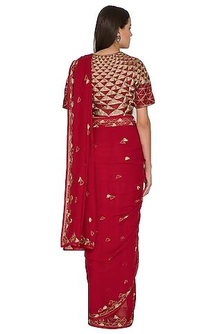 Watermelon Red Triangular Motifs Embroidered Saree Set by Shasha Gaba