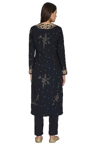 Indigo Sequins Embroidered Kurta Set by Shasha Gaba