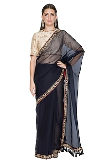 Indigo Dabka & Resham Embroidered Saree Set by Shasha Gaba