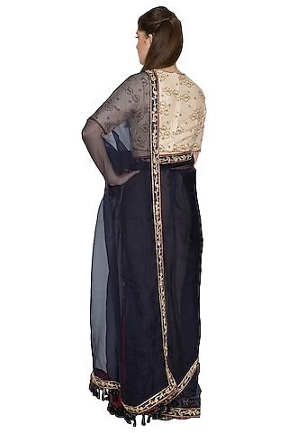 Indigo Dabka & Resham Embroidered Saree Set by Shasha Gaba