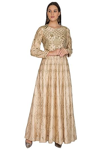 Beige Geometric & Floral Embroidered Dress by Shasha Gaba