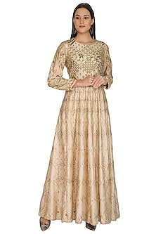 Beige Geometric & Floral Embroidered Dress by Shasha Gaba