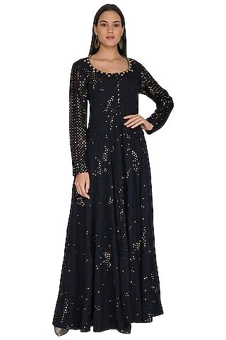 Midnight Blue Resham & Sequins Embroidered Dress by Shasha Gaba
