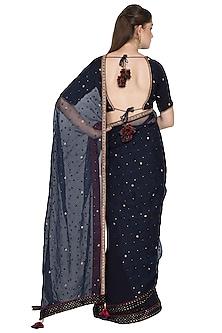 Indigo Resham & Sequins Embroidered Saree Set by Shasha Gaba