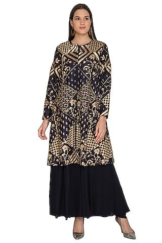 Indigo Embroidered Jacket With Dress by Shasha Gaba