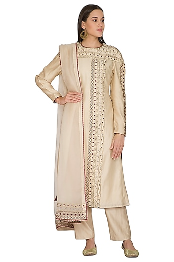 Beige Hand Embroidered Kurta Set by Shasha Gaba