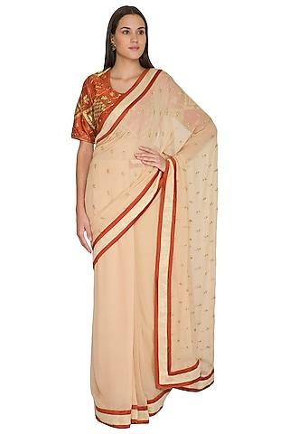Pink & Rust Embroidered Saree Set by Shasha Gaba