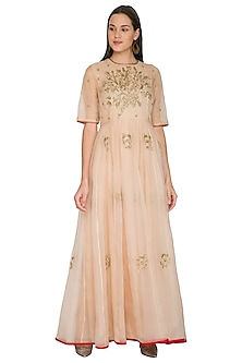 Pink Embroidered Silk Organza Dress by Shasha Gaba