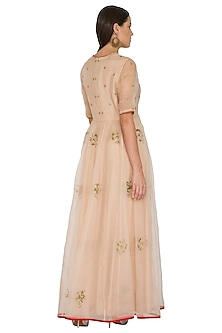 Pink Embroidered Silk Organza Dress by Shasha Gaba