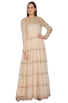 Pink Embroidered Kalidar Dress by Shasha Gaba
