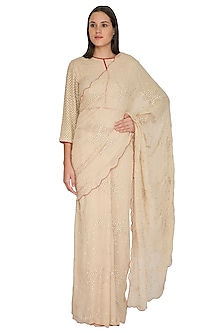 Beige Embroidered Peplum Saree Set by Shasha Gaba