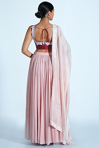 Blush Pink & Wine Embroidered Lehenga Set by Shahmeen Husain