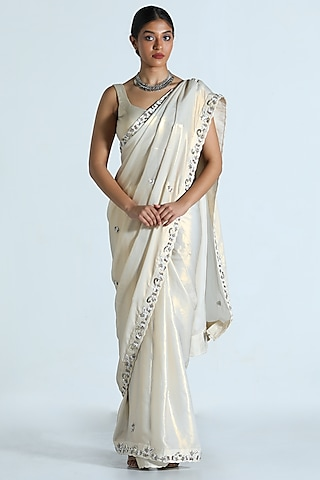 White Embroidered Saree Set by Shahmeen Husain