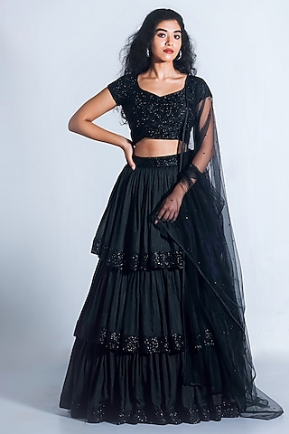 Black Embroidered Lehenga Set by Shahmeen Husain