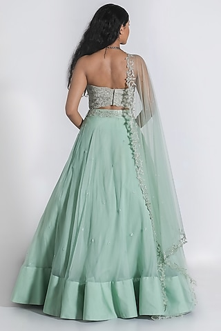 Mint Green Floral Embroidered Lehenga Set by Shahmeen Husain