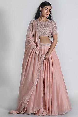 Blush Pink Thread Embroidered Lehenga Set by Shahmeen Husain