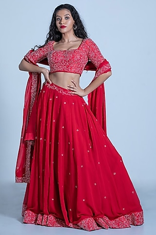 Red Embroidered Skirt Set by Shahmeen Husain
