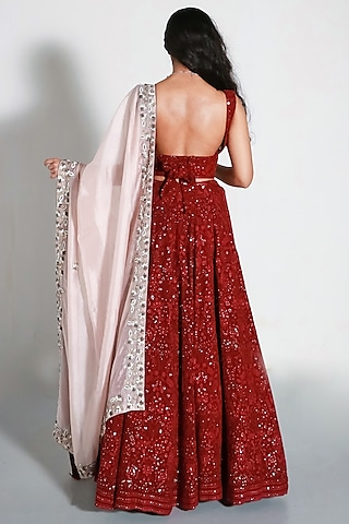 Red & Blush Pink Embroidered Lehenga Set by Shahmeen Husain