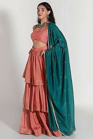 Coral & Green Embroidered Lehenga Set by Shahmeen Husain