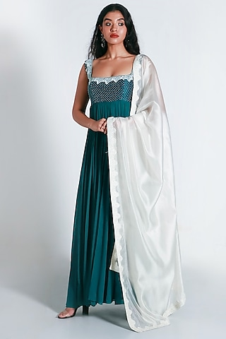 Cobalt Blue & White Embroidered Anarkali Set by Shahmeen Husain