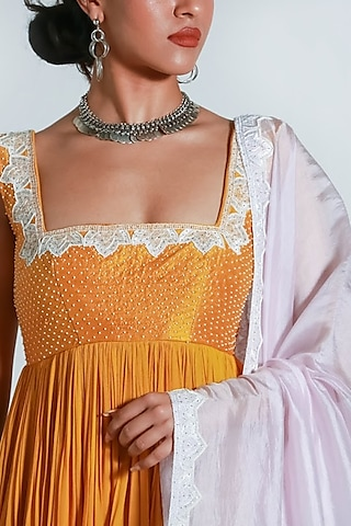 Yellow & Pink Embroidered Anarkali Set by Shahmeen Husain