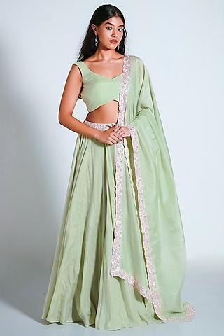 Mint Green Embroidered Lehenga Set by Shahmeen Husain
