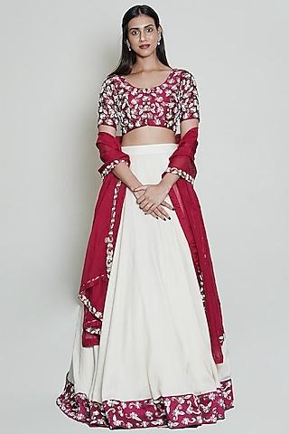 Wine & Off White Hand Embroidered Lehenga Set by Shahmeen Husain