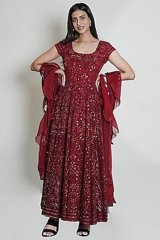 Maroon Chikankari Anarkali Set With Sequins Work by Shahmeen Husain