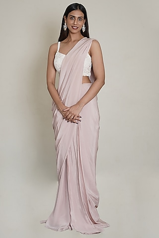Pink Hand Embroidered Pre-Draped Saree Set by Shahmeen Husain