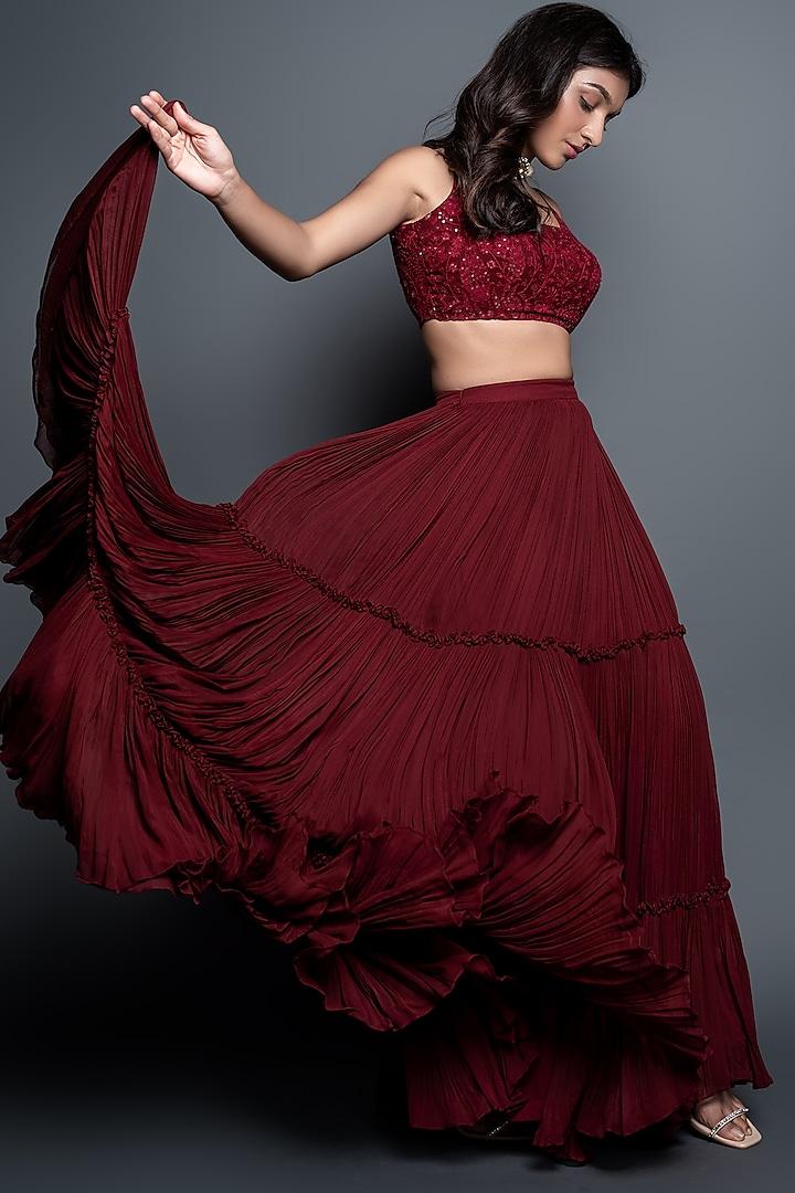 Maroon Tiered Pleated Skirt Set by Shahmeen Husain
