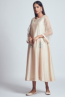 Beige Rose Embroidered Dress With Slip by Sheetal Batra