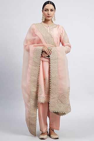 Carnation Pink Embroidered Kurta Set by Sheetal Batra