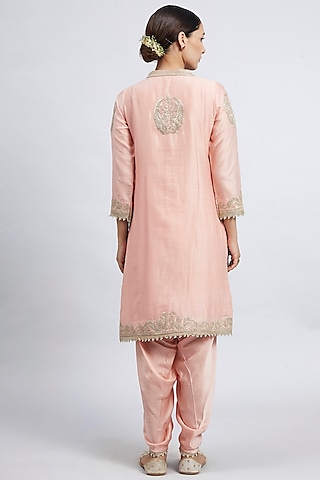 Carnation Pink Pearl Embroidered Kurta Set by Sheetal Batra