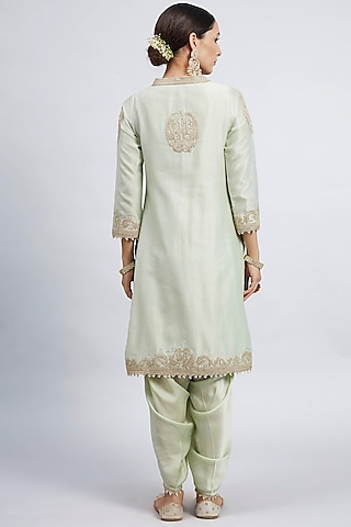 Mint Green Tilla Embroidered Kurta Set by Sheetal Batra