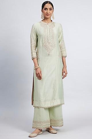 Mint Green Embroidered Princess-Cut Kurta Set by Sheetal Batra