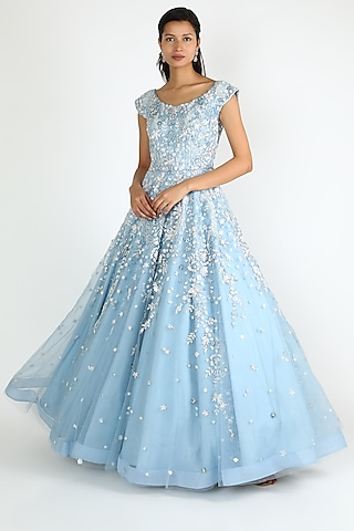 Ice Blue Sequins Gown by Shlok Design