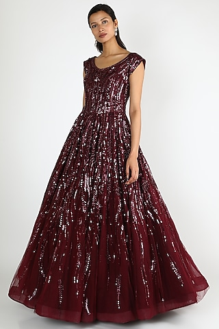 Wine Sequins Falling Gown by Shlok Design