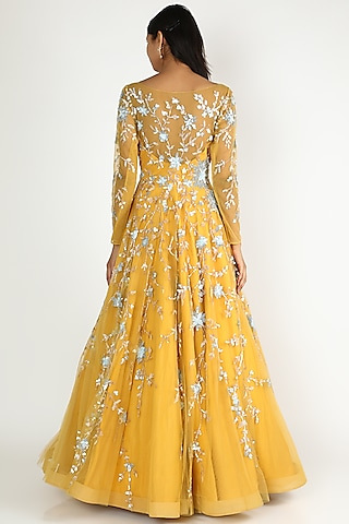 Yellow Net Gown With Jaal Work by Shlok Design