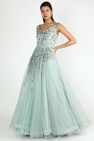 Pale Green Net Gown by Shlok Design