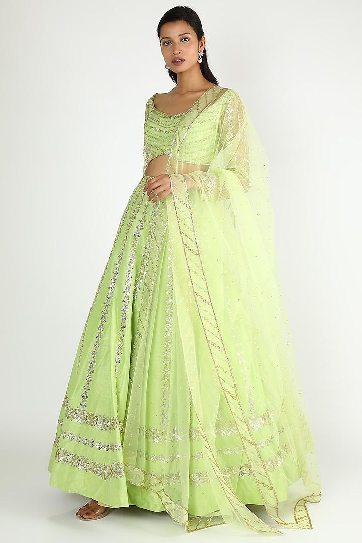 Lime Dupion Silk Lehenga Set by Shlok Design