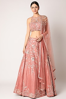 Peach Embroidered Lehenga Set by Shlok Design-POPULAR PRODUCTS AT STORE