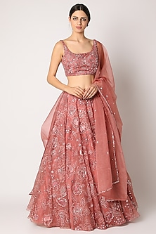 Peach Sequins Embroidered Lehenga Set by Shlok Design-POPULAR PRODUCTS AT STORE