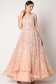 Blush Pink Embroidered Gown by Shlok Design-POPULAR PRODUCTS AT STORE