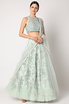 Mint Green Embroidered Lehenga Set by Shlok Design-POPULAR PRODUCTS AT STORE